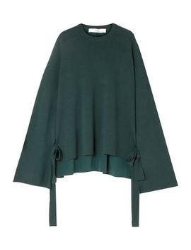 Silk Crepe De Chine Paneled Merino Wool Sweater by Tibi