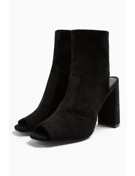 Sindy Black Stretch Zip Boots by Topshop