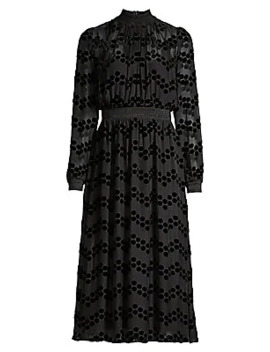 Devore Velvet Polka Dot Sheer Blouson Dress by Tory Burch
