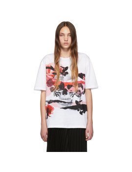 White Floral Skull T Shirt by Alexander Mcqueen