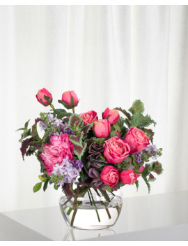 Rose Lilac Fuchsia Purple Florals In Glass Vase by Ndi
