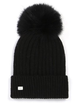 Ribbed Beanie With Feather Pom by Soia & Kyo