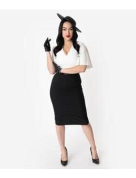 Vintage Diva 1940s Style Black & White Butterfly Sleeved Loretta Pencil Dress by Unique Vintage