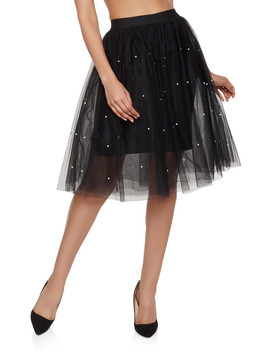 Faux Pearl Studded Tulle Skirt by Rainbow