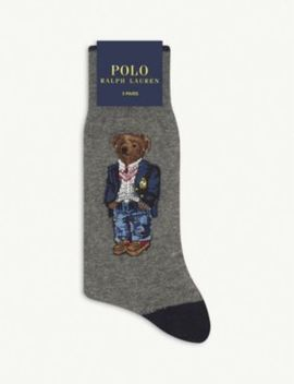 Cotton Blend Embroidered Bear Socks by Polo Ralph Lauren