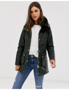Barbour International Kirk Longline Wax Jacket With Detachable Faux Fur Collar by Barbour
