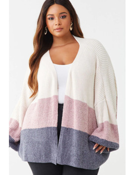 Plus Size Chenille Colorblock Cardigan by Forever 21
