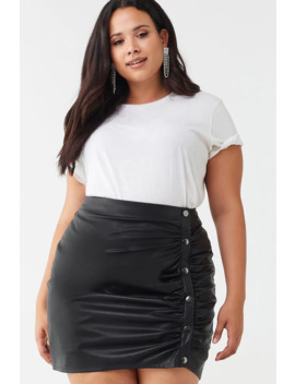 Plus Size Ruched Faux Leather Skirt by Forever 21