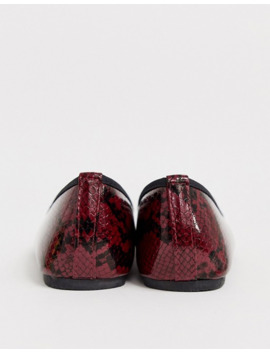 Park Lane Square Toe Ballets In Red Snake by Asos