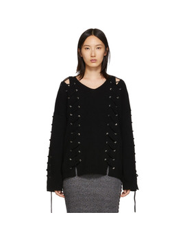 Black Lace Up Jumper by Mcq Alexander Mcqueen