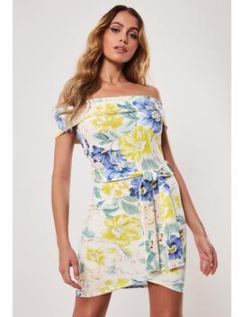 Floral Bardot Tie Waist Bodycon Mini Dress by Missguided