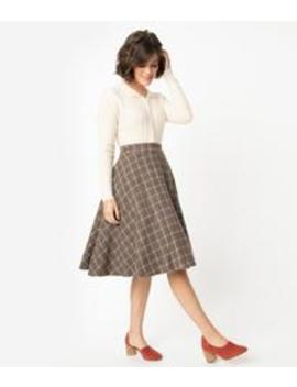 Vintage Style Brown & Ivory Plaid High Waist Swing Skirt by Unique Vintage
