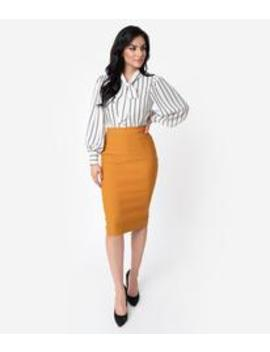 Unique Vintage Mustard Stretch High Waist Tracy Wiggle Skirt by Unique Vintage
