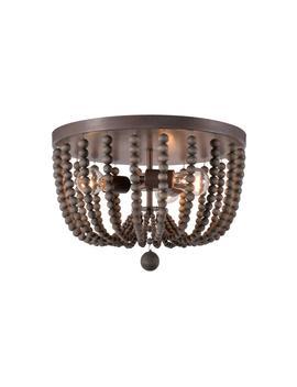 Dumas 15.75 In. 3 Light Golden Bronze Wood Bead Flush Mount Light by Kenroy Home