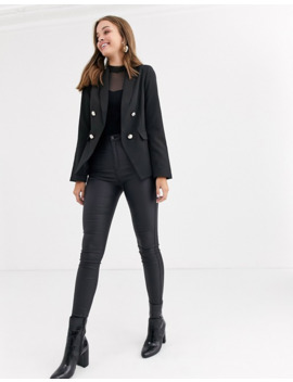 New Look   Double Breasted Blazer In Zwart by New Look