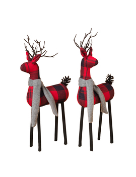 Assorted Plaid Standing Deer Figurines (Set Of 2) by Gil/Sterling