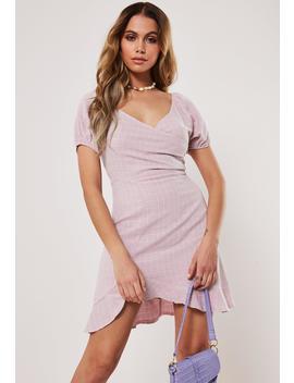 Blush Grid Plaid Wrap Mini Dress by Missguided