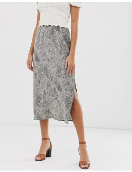Qed London Side Split Midi Skirt In Micro Animal Print by Asos