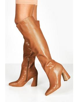 Flare Heel Lizard Knee Boots by Boohoo