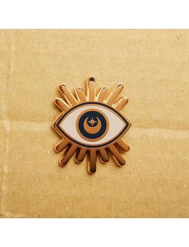 Rose Goud Crescent Moon En Star Eye Harde Glazuur Pin (Verhoogd Rose Goud Metaal) by Etsy