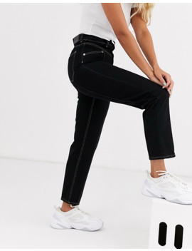Monki   Jean Droit à Coutures Contrastantes   Noir by Monki