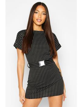Pinstripe Buckle Detail T Shirt Dress by Boohoo