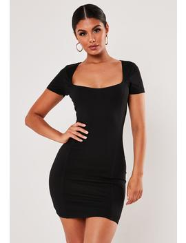 Black Picot Trim Bodycon Mini Dress by Missguided