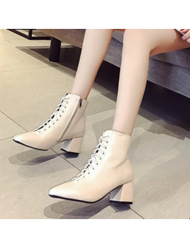 Women Spring Autumn 6cm Square Heel Ankle Pu Short Boots Zipper Ladies Casual Fashion Cross Tied Booties Size 35 39 by Ali Express.Com