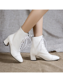 Large Size 45 Pu Leather Ankle Boots Women Fashion Lace Up Shoes White Black Motorcycle Boots Square Low Heels Party Short Shoes by Ali Express.Com