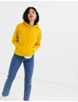 Nike Dark Yellow Mini Swoosh Oversized Hoodie by Nike