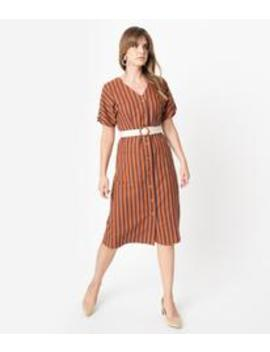 1930s Style Rust Brown & Navy Stripe Cotton Button Shirtdress by Unique Vintage