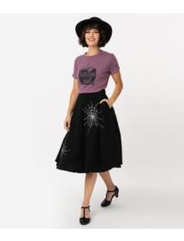 Voodoo Vixen X Acid Doll 1950s Style Black Spiderweb Swing Skirt by Unique Vintage