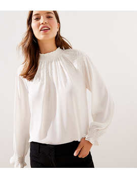 Petite Embroidered Smocked Mock Neck Blouse by Loft