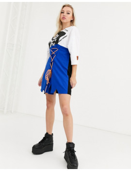 Db Berdan T Shirt Dress With Lace Up Panel And Contrast Laces by Db Berdan
