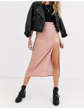 Asos Design Sparkle Bias Slip Midi Skirt With Thigh Split by Asos Design