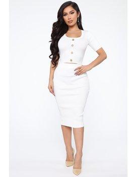 Melinda Sweater Set   Ivory by Fashion Nova