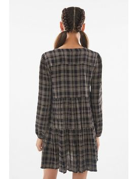Uo Plaid Long Sleeve Babydoll Dress by Urban Outfitters