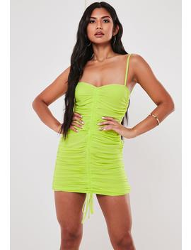Lime Mesh Drawstring Ruched Mini Dress by Missguided