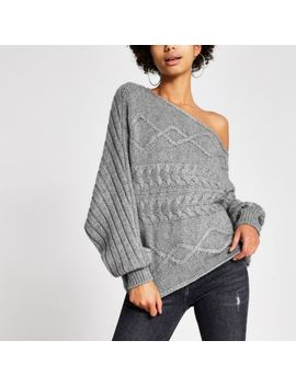 Grey Asymmetric Cable Knitted Jumper by River Island