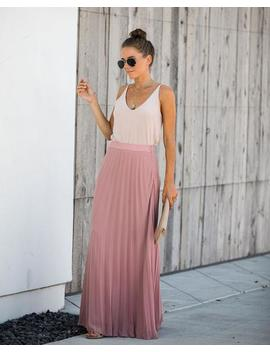 Pivotal Moments Pleated Maxi Skirt   Mauve by Vici