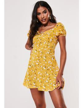 Mustard Floral Milkmaid Mini Dress by Missguided