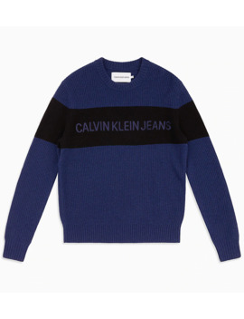 Wool Colour Block Logo Jumper by Calvin Klein