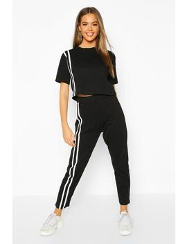 Stripe Soft Jersey Lounge Set by Boohoo