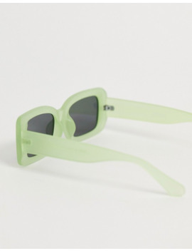 Asos Design – Rechteckige Sonnenbrille In Phosphoreszierendem Grün by Asos