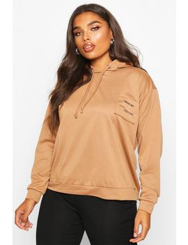 Plus Wear Me Slogan Balloon Sleeve Hoody by Boohoo