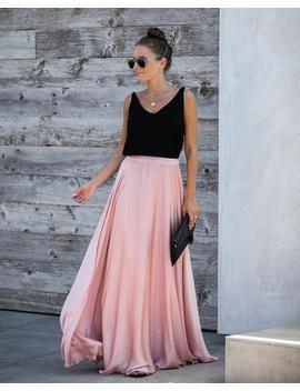 Duchess Satin Maxi Skirt   Blush by Vici