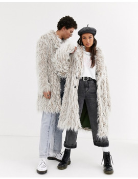 Reclaimed Vintage Unisex Fluffy Jacket In Stone by Asos