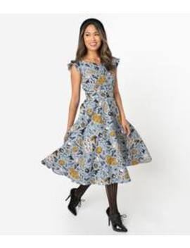 1950s Style Dusty Blue Halloween Print Judy Swing Dress by Unique Vintage