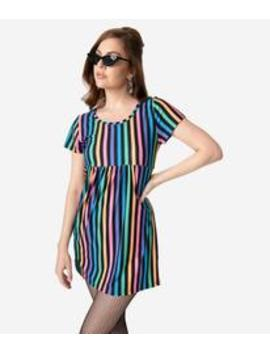 Rainbow Striped Short Sleeve Fit & Flare Dress by Unique Vintage