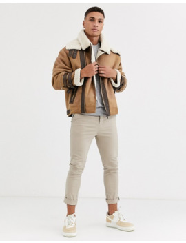 River Island Fleece Lined Aviator Coat In Tan by River Island